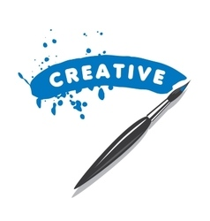 logo brush and blots of paint vector image vector image
