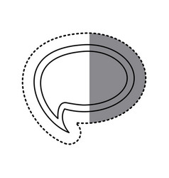 Monochrome sticker of cloud speech with tail vector