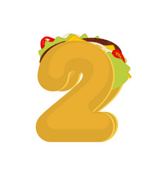 Number 2 tacos mexican fast food font two taco vector
