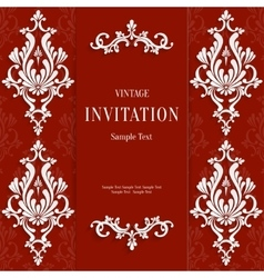 Red christmas vintage invitation card with vector