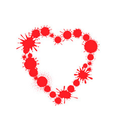 Red paint splash heart vector