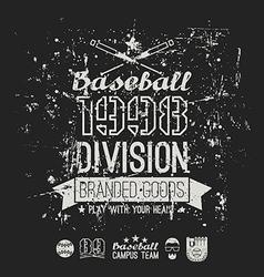 Retro emblem baseball division of college black vector