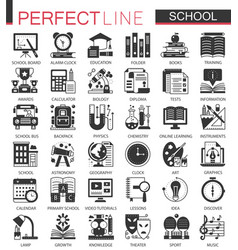 School education black mini concept icons and vector