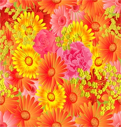 Seamless texture gerbera and roses vector