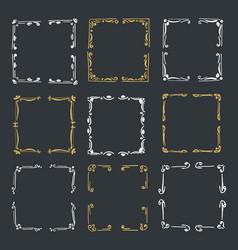 Set hand drawn line border vector