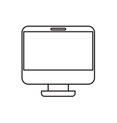 Sketch silhouette modern flat computer screen vector