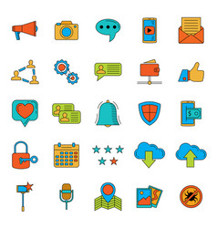 social media icons set internet web icons vector image vector image