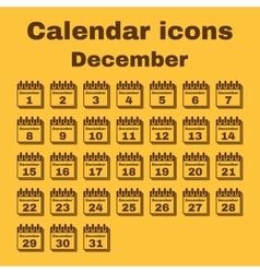 The calendar icon December symbol Flat vector image vector image
