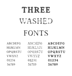 Three Handdrawn Fonts Washed Latin Alphabet Set vector image