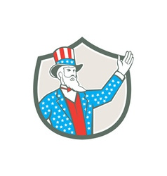 Uncle sam american hand up shield retro vector