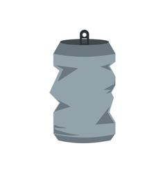 Crumpled tin can icon flat style vector