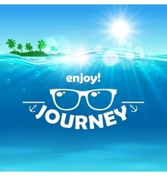 Summer journey poster ocean island sunglasses vector