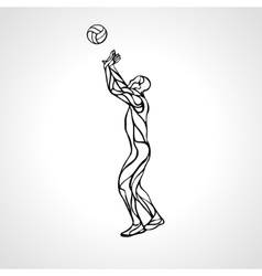 Volleyball setter outline silhouette side view vector