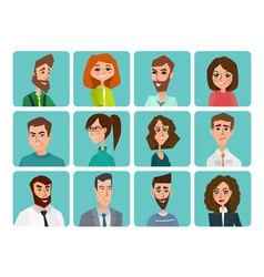 Avatar woman man heads people shape heads vector