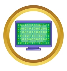Binary code on screen icon vector