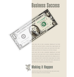 Business success ad with a dollar bill vector