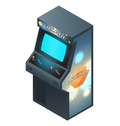 Arcade game cabinet with glowing screen isometric vector