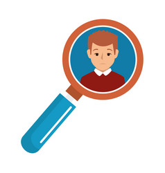 search magnifying glass with person avatar vector image