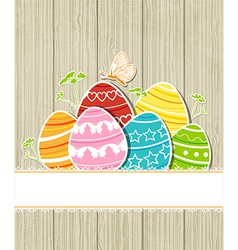 wooden Easter background with eggs vector image