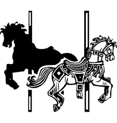 Wooden carousel horse shadow vector