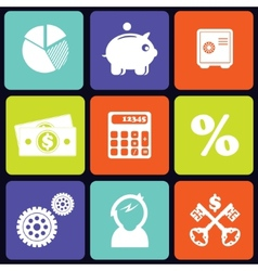 Finance icons square vector