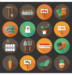 Gardening set flat icons over dark background vector