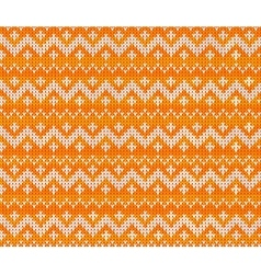 Orange knitted scandinavian ornament seamless vector