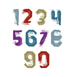 Modern watercolor brushed numbers set hand-drawn vector