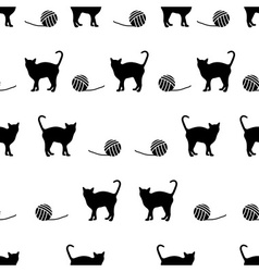 Black cats and ball of wool seamless pattern eps10 vector