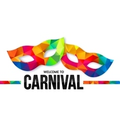 Bright rainbow colors carnival masks with black vector