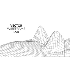 Wireframe landscape background futuristic vector