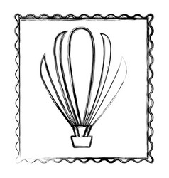 blurred contour frame of hot air balloon icon vector image vector image