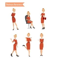 business woman different poses vector image