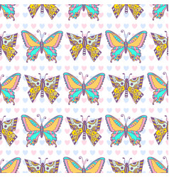 Butterflies pattern hand drawn seamless print can vector