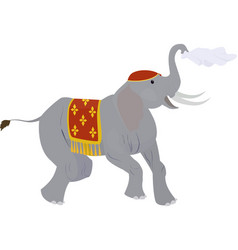 Circus elephant waving a handkerchief isolated on vector