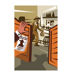 Cowboy robber stealing saloon poster vector