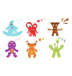 Cute colorful monster set vector image