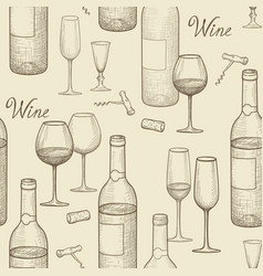 Drink wine seamless doodle pattern wine card bar vector
