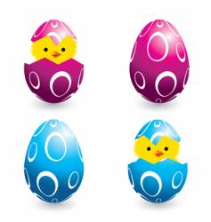 Easter eggs and hatching chicks vector