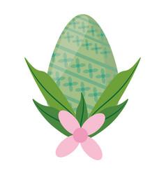 Easter green egg flower decoration vector