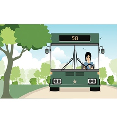 Female bus driver vector