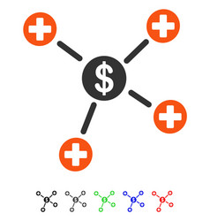 Financial medical links flat icon vector