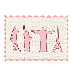 Frame with silhouette of set of the world landmark vector