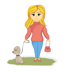 girl with the dog in the alley vector image vector image