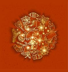 Golden christmas doodles vector