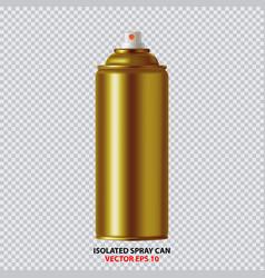 golden paint aerosol spray metal bottle can vector image