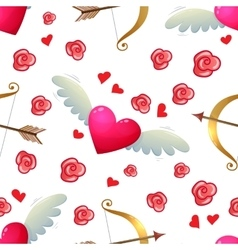 Heart and bow seamless pattern vector image vector image