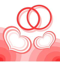 Hearts and wedding rings vector image vector image