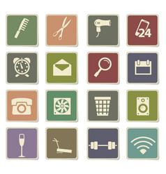 Hotel room services icon set vector