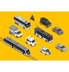Isometric 3d Transport Set Flat Design vector image vector image